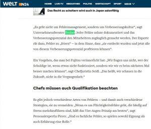 Zitierung Stephan Teuber in der Zeitung der Welt u.a. Fehlervermeidung