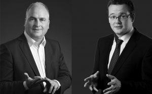 Referent Johannes Moskaliuk und Stephan Teuber als Moderator im Impulsforum Soziale Marktwirtschaft 2019 in München
